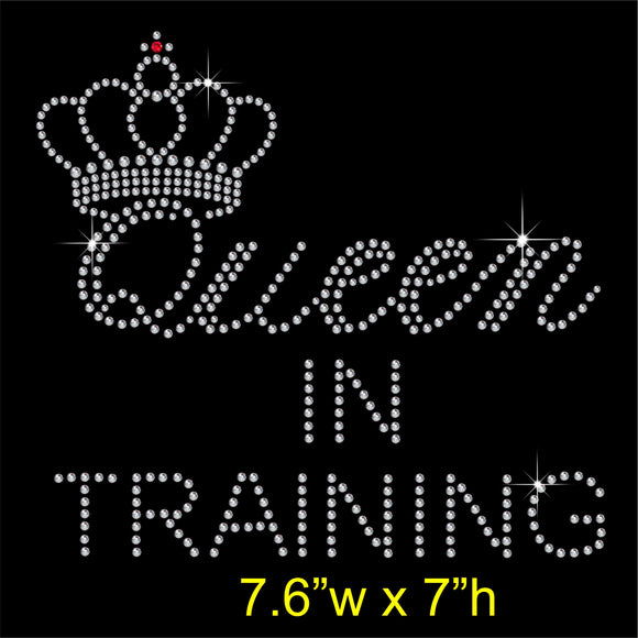 Queen IN TRAINING Hotfix Rhinestone Transfer Diamante Motif Iron on Applique