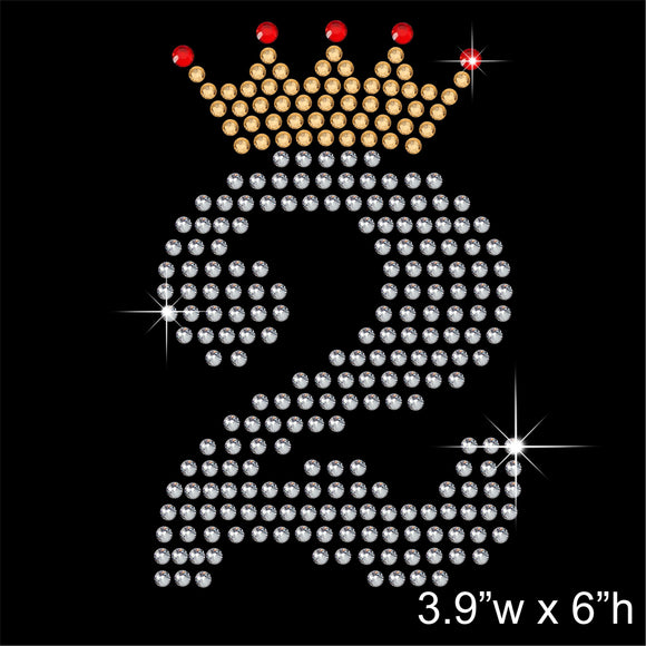2 with Crown - Birthday Hotfix Rhinestone Transfer Diamante Motif, Iron on Applique