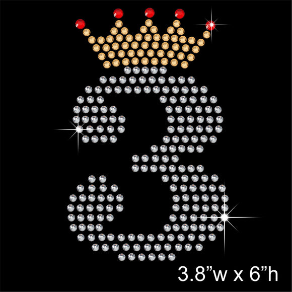 3 with Crown - Birthday Hotfix Rhinestone Transfer Diamante Motif, Iron on Applique