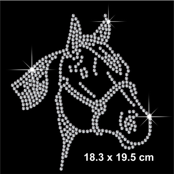 Horse Face Hotfix Rhinestone Transfer Diamante Motif, Iron on Applique