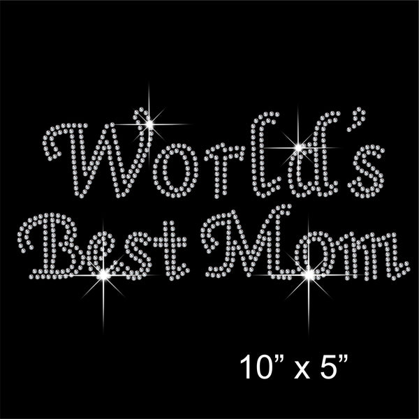 Worlds Best Mom Hotfix Rhinestone Transfer Diamante Motif, Iron-on Applique