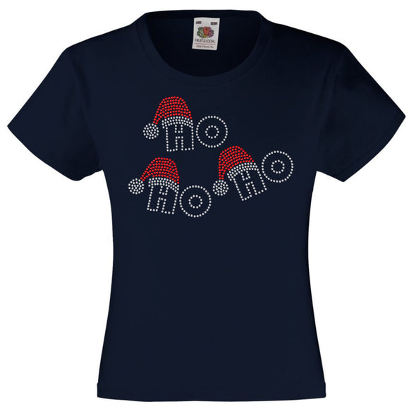CHRISTMAS HO HO HO RHINESTONE EMBELLISHED T SHIRT FOR GIRLS, ELEGANT GIFT FOR CHRISTMAS