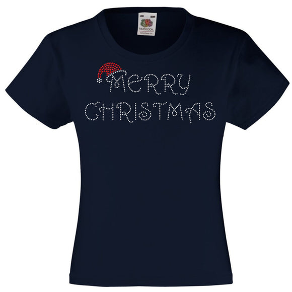 MERRY CHRISTMAS RHINESTONE EMBELLISHED T-SHIRT FOR GIRLS, ELEGANT GIFT FOR CHRISTMAS