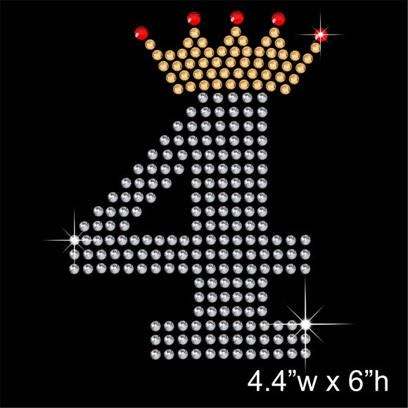 4 with Crown - Birthday Hotfix Rhinestone Transfer Diamante Motif, Iron on Applique