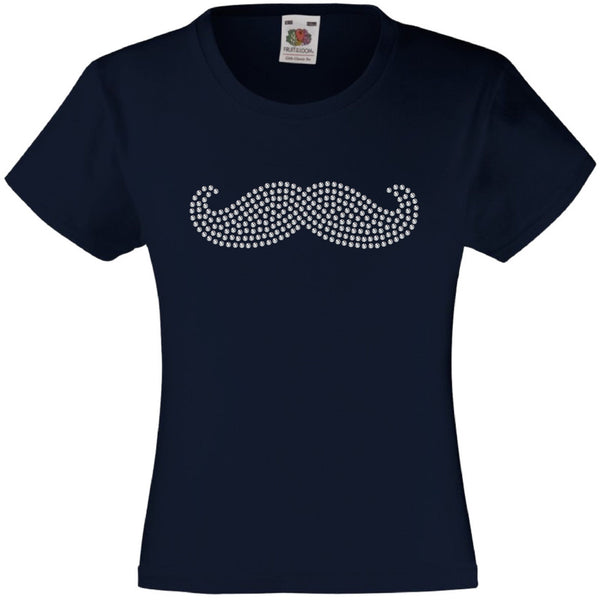 THICK MOUSTACHE RHINESTONE EMBELLISHED T-SHIRT ELEGANT GIFT FOR GIRLS