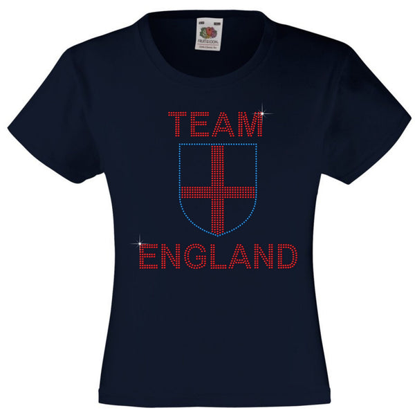 TEAM ENGLAND RHINESTONE EMBELLISHED T SHIRT ELEGANT GIFT FOR GIRLS
