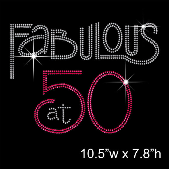 Fabulous at 50 Hotfix Rhinestone Transfer Diamante Motif, Iron on Applique