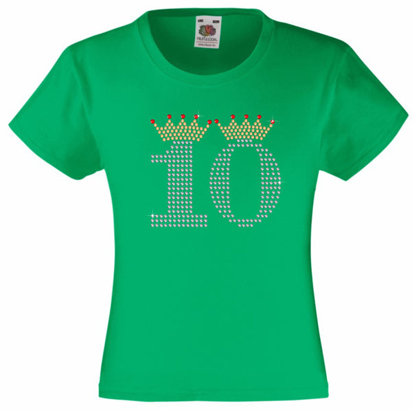 NUMBER 10 IN CRYSTAL COLOUR WITH TIARA GIRLS T SHIRT, RHINESTONE EMBELLISHED BIRTHDAY T SHIRT, ELEGANT GIFT FOR THEIR BIG DAY