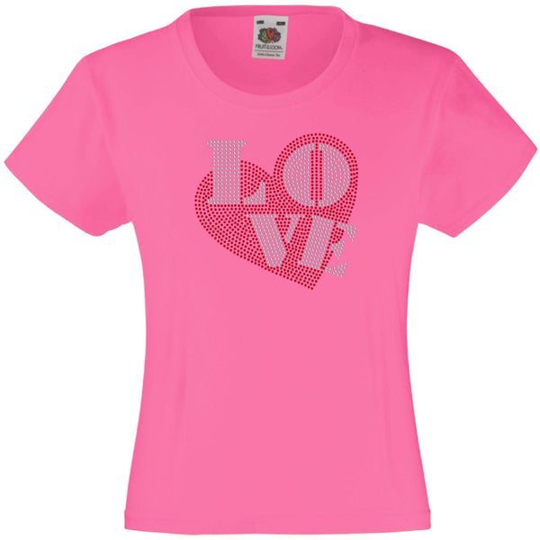 LOVE IN HEART RHINESTONE EMBELLISHED T-SHIRT ELEGANT GIFT FOR GIRLS
