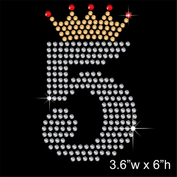 5 with Crown - Birthday Hotfix Rhinestone Transfer Diamante Motif, Iron on Applique