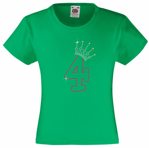 NUMBER 4 IN WITH CROWN GIRLS T SHIRT, RHINESTONE EMBELLISHED BIRTHDAY T SHIRT, ELEGANT GIFT FOR THEIR BIG DAY