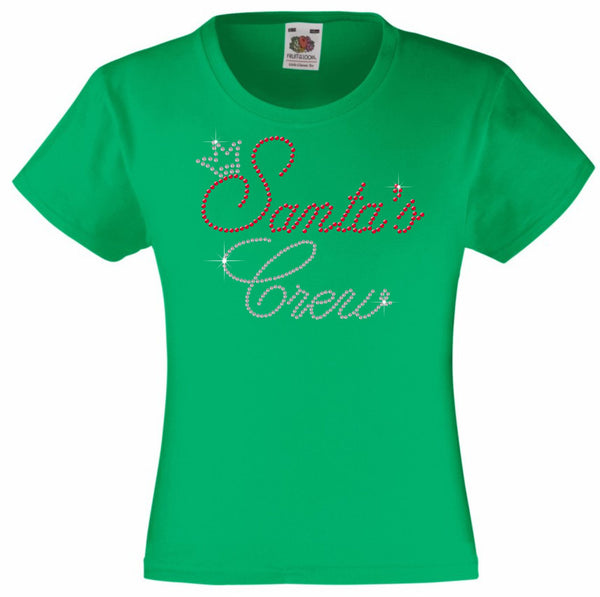 CHRISTMAS SANTA'S CREW RHINESTONE EMBELLISHED T SHIRT FOR GIRLS, ELEGANT GIFT FOR CHRISTMAS