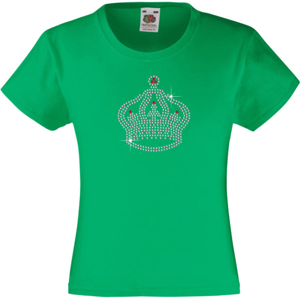 TIARA CROWN RHINESTONE EMBELLISHED T-SHIRT ELEGANT GIFT FOR GIRLS