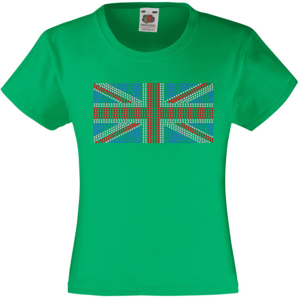 UNION JACK - UK FLAG RHINESTONE EMBELLISHED T SHIRT ELEGANT GIFT FOR GIRLS