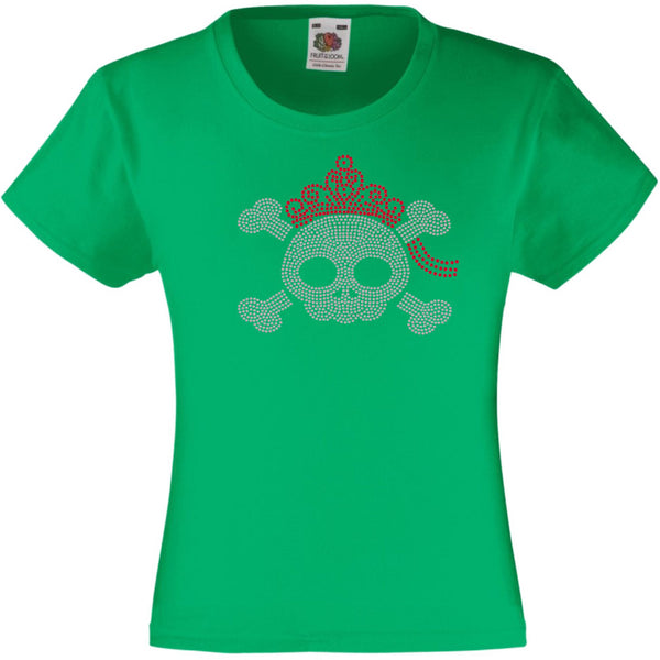 SKULL WITH A TIARA HALLOWEEN SCARY RHINESTONE EMBELLISHED T-SHIRT ELEGANT GIFT FOR GIRLS