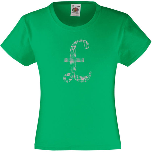 POUND STERLING RHINESTONE EMBELLISHED T-SHIRT ELEGANT GIFT FOR GIRLS