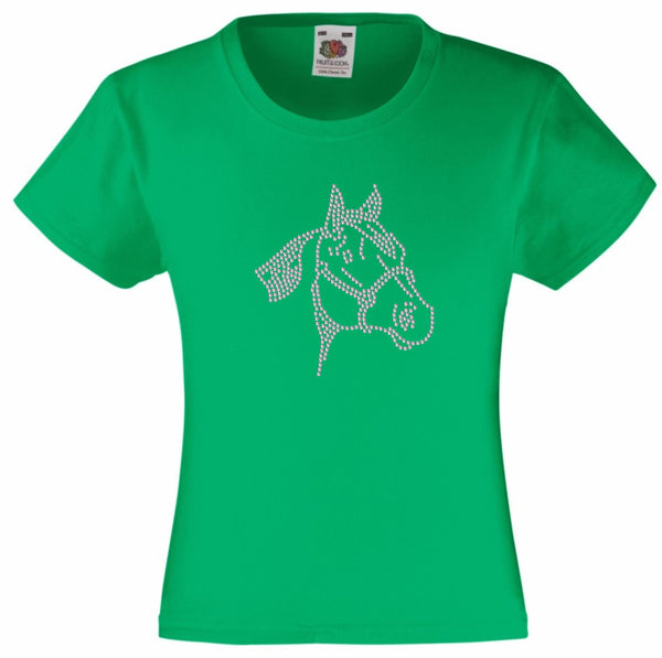 HORSE FACE RHINESTONE EMBELLISHED T SHIRT ELEGANT GIFT FOR ANIMAL LOVING GIRLS