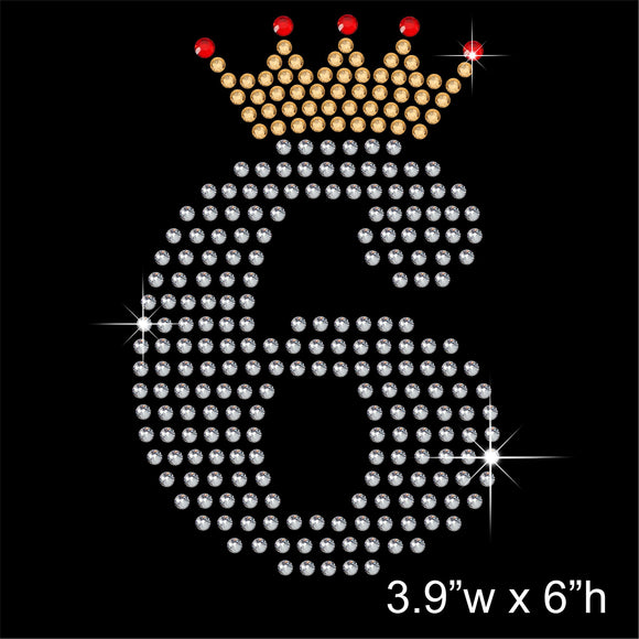 6 with Crown - Birthday Hotfix Rhinestone Transfer Diamante Motif, Iron on Applique