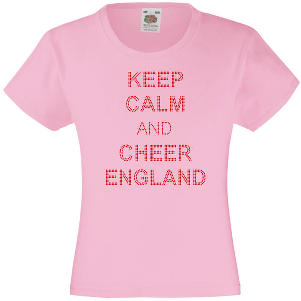 KEEP CALM AND CHEER ENGLAND RHINESTONE EMBELLISHED T-SHIRT ELEGANT GIFT FOR GIRLS