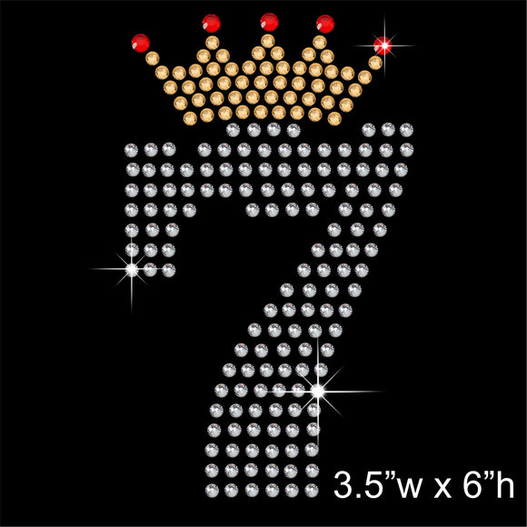 7 with Crown - Birthday Hotfix Rhinestone Transfer Diamante Motif, Iron on Applique