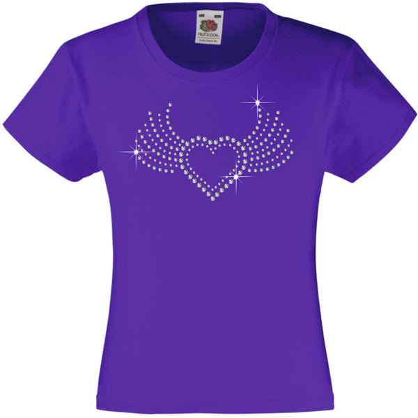 HEART WITH WINGS RHINESTONE EMBELLISHED T-SHIRT ELEGANT GIFT FOR GIRLS
