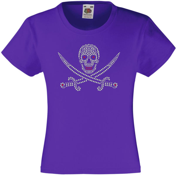 SKULL AND SWORDS HALLOWEEN SCARY RHINESTONE EMBELLISHED T-SHIRT ELEGANT GIFT FOR GIRLS