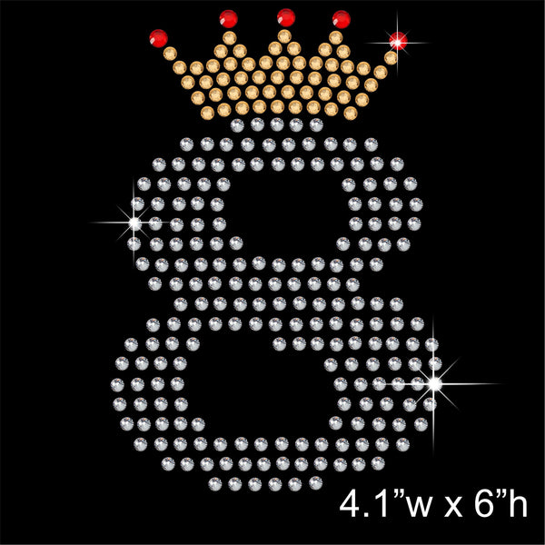 8 with Crown - Birthday Hotfix Rhinestone Transfer Diamante Motif, Iron on Applique