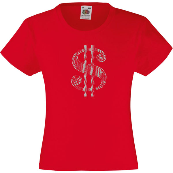 DOLLAR SIGN RHINESTONE EMBELLISHED T-SHIRT ELEGANT GIFT FOR GIRLS
