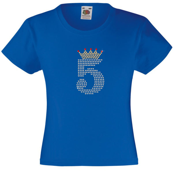NUMBER 5 IN CRYSTAL COLOUR WITH TIARA GIRLS T SHIRT, RHINESTONE EMBELLISHED BIRTHDAY T SHIRT, ELEGANT GIFT FOR THEIR BIG DAY