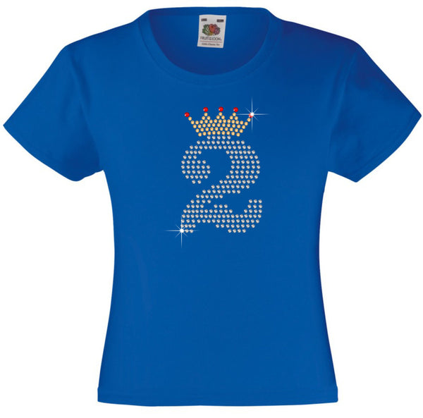 NUMBER 2 IN CRYSTAL COLOUR WITH TIARA GIRLS T SHIRT, RHINESTONE EMBELLISHED BIRTHDAY T SHIRT, ELEGANT GIFT FOR THEIR BIG DAY