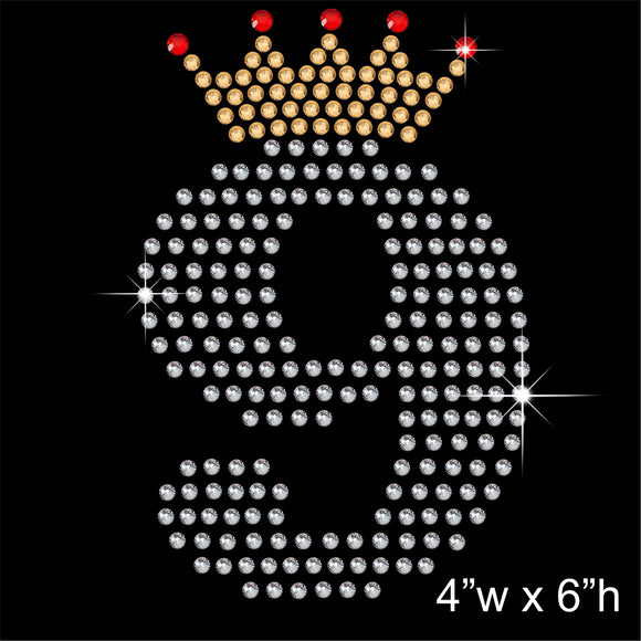 9 with Crown - Birthday Hotfix Rhinestone Transfer Diamante Motif, Iron on Applique