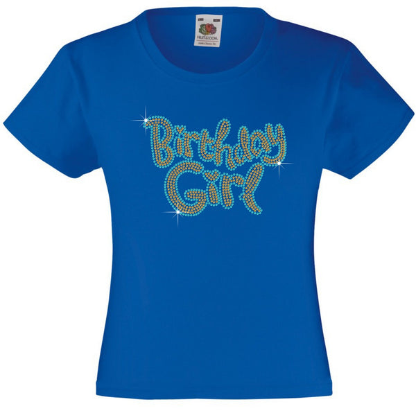 BIRTHDAY GIRL GIRLS T SHIRT, RHINESTONE EMBELLISHED BIRTHDAY T SHIRT, ELEGANT GIFT FOR THEIR BIG DAY