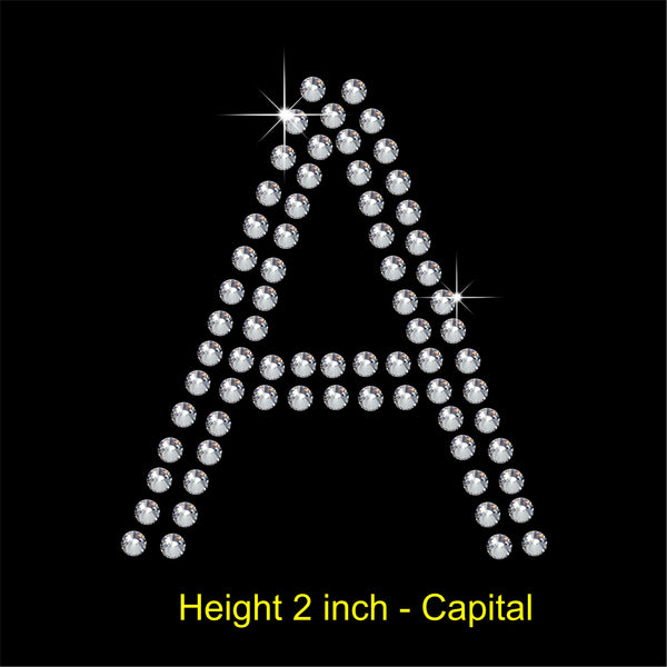 2 Inch high Arial letters Hotfix Rhinestone Transfer Diamante Motif, Iron on Applique