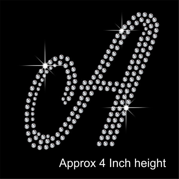 4 Inch high Capital Fancy letters Hotfix Rhinestone Transfer Diamante Motif, Iron on Applique