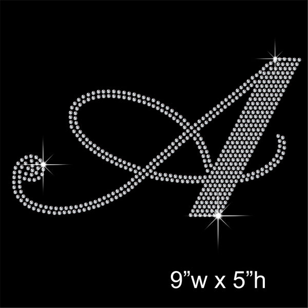 5 Inch high Artistic Fancy Capital letters Hotfix Rhinestone Transfer Diamante Motif, Iron on Applique