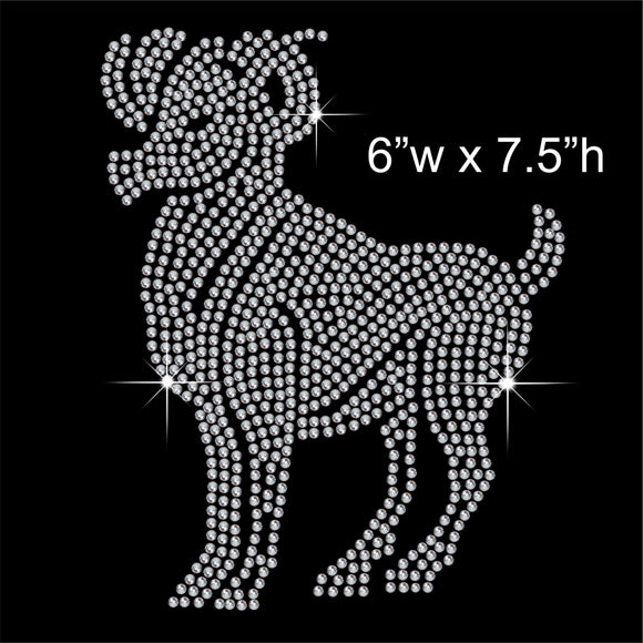 Aries Zodiac Sign Hotfix Rhinestone Transfer Diamante Motif, Iron-on Applique
