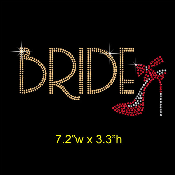 Bride with Shoe Hotfix Rhinestone Transfer Diamante Applique, Iron on Motif