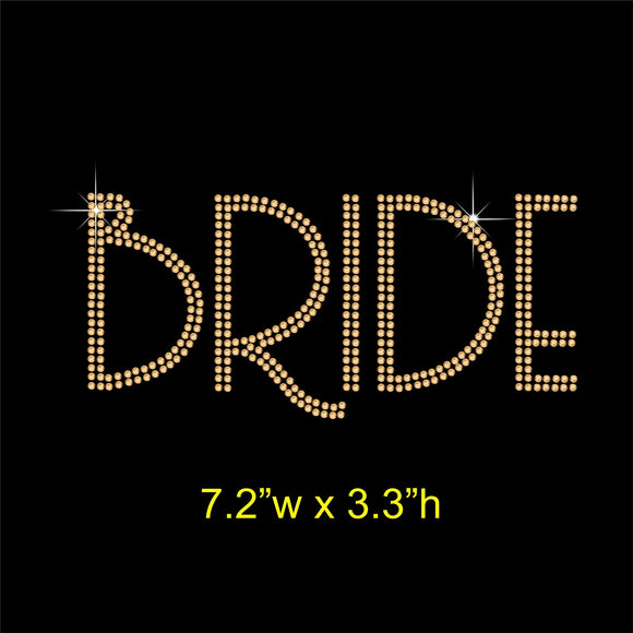 Bride Hotfix Rhinestone Transfer Diamante Applique, Iron-on Motif