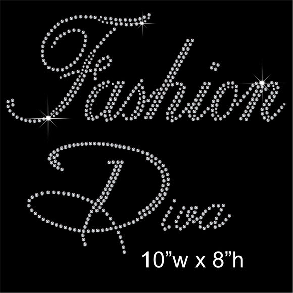 Fashion Diva Hotfix Rhinestone Transfer Diamante Motif, Iron on Applique