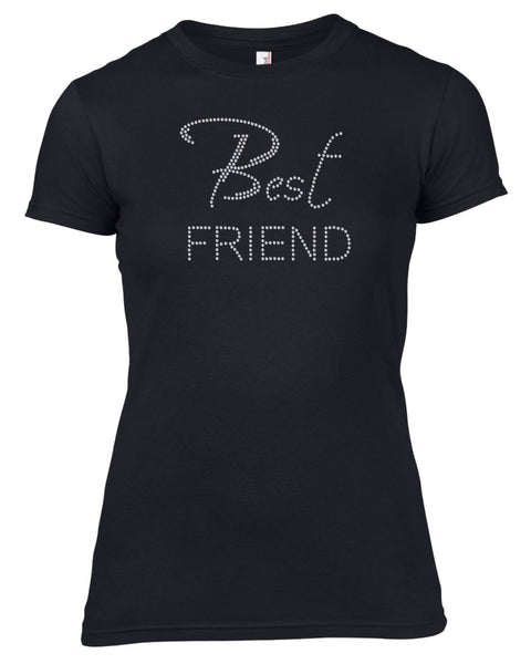 BEST FRIEND RHINESTONE EMBELLISHED HEN DO PARTY T-SHIRT FOR LADIES