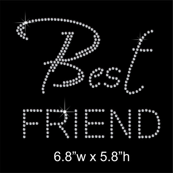 Best Friend Hotfix Rhinestone Transfer Diamante Motif, Iron on Applique