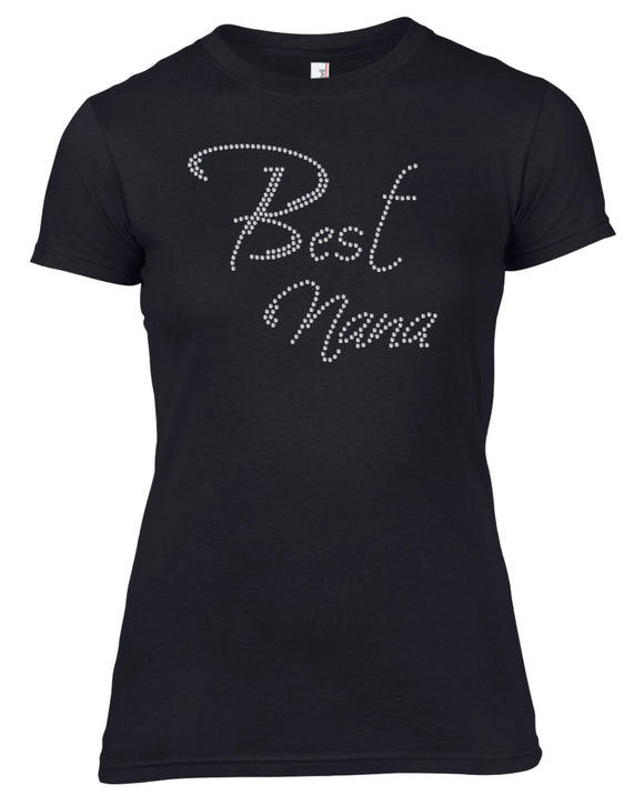 BEST NANA RHINESTONE EMBELLISHED HEN DO PARTY T-SHIRT FOR LADIES