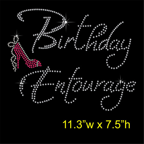 Birthday Entourage Hotfix Rhinestone Transfer Diamante Motif Iron on Applique