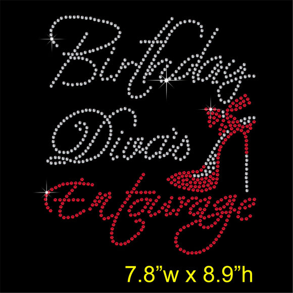 Birthday Diva's Entourage Hotfix Rhinestone Transfer Diamante Motif Iron on Applique