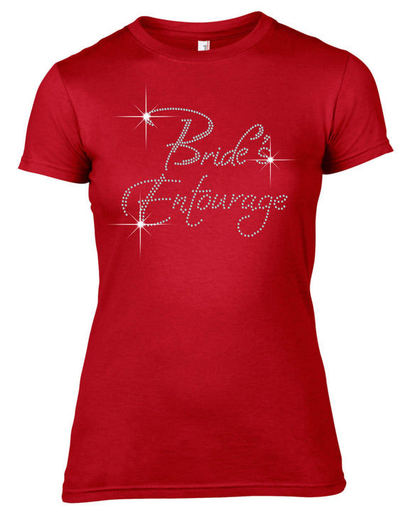 BRIDE'S ENTOURAGE RHINESTONE EMBELLISHED HEN DO PARTY T SHIRT FOR LADIES