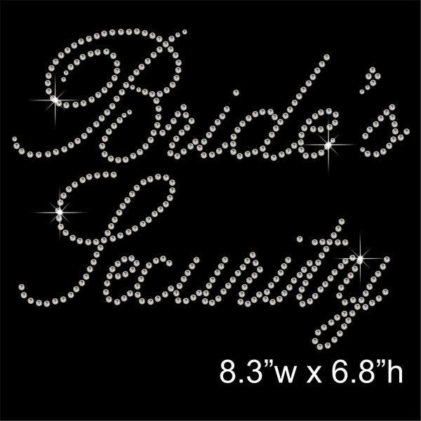 Bride's Security Hotfix Rhinestone Transfer Diamante Motif, Iron on Applique