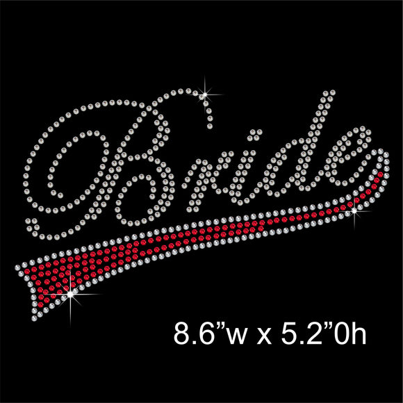 Bride with underline Hotfix Rhinestone Transfer Diamante Motif, Iron on Applique