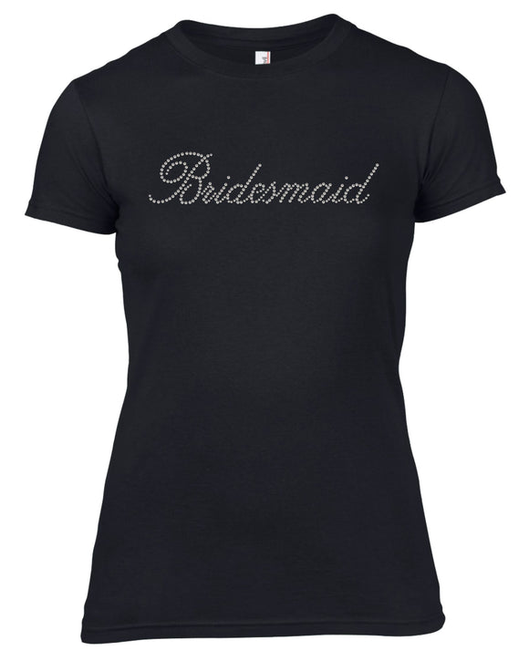 BRIDESMAID RHINESTONE EMBELLISHED HEN DO PARTY T-SHIRT FOR LADIES