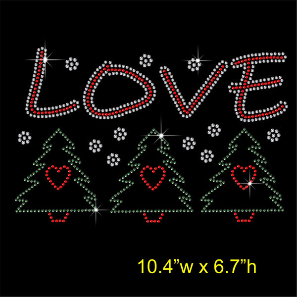 Christmas LOVE and Trees Hotfix Rhinestone Transfer Diamante Motif, Iron-on Applique