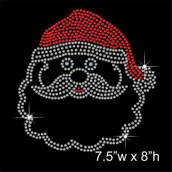 Christmas Santa Head Hotfix Rhinestone Transfer Diamante Motif, Iron-on Applique